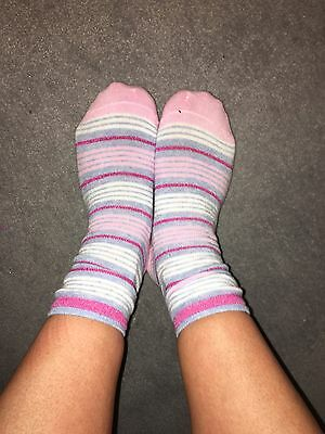 Womens Striped Pink Used Ankle Socks