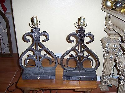 Vintage Set of Two Wrought Iron Scroll Table Lamp Work and Rare
