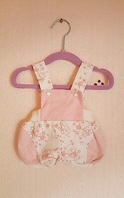 Vintage baby retro bear and bees dungarees bloomers/shorts 2-4 months