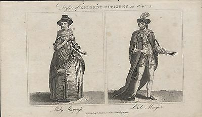 DRESSES OF EMINENT CITIZENS 1640 - 19th CENTURY FASHION ENGRAVING c.1807