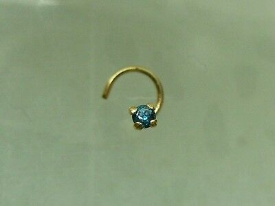 1 5mm Genuine Blue Diamond Nose Stud Screw Ring 14kt Gold 14k