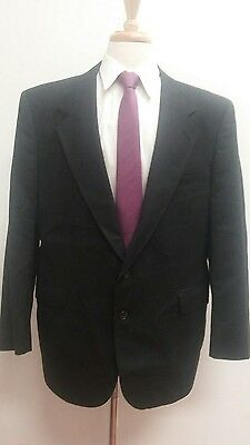 $395 Evan Picone Men's USA Made Black Plaid 100% Wool Suit Size 46R 39x29