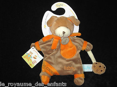 Doudou Marionnette Chien marron orange Charly adore les cookies Babynat'