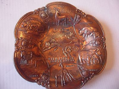 Stunning embossed WILD LIFE OF SOUTH AFRICA in figurine on metallic Plate.