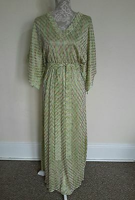 LADIES VINTAGE 70s GREEN EMBROIDERED DISCO DRESS SIZE 12-14
