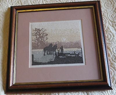 Cross stitch framed picture horses in the country.