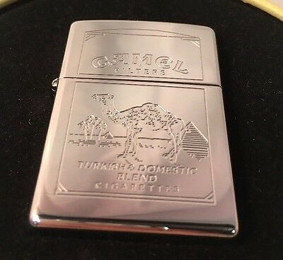 Zippo Lighter Sealed Camel Filters Dbl Engraved High Polish Chrome A 1996 XII