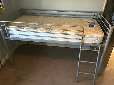 Mika Metal Single Bunk Bed / Mid Sleeper / Cabin Bed With Silentnight Mattress