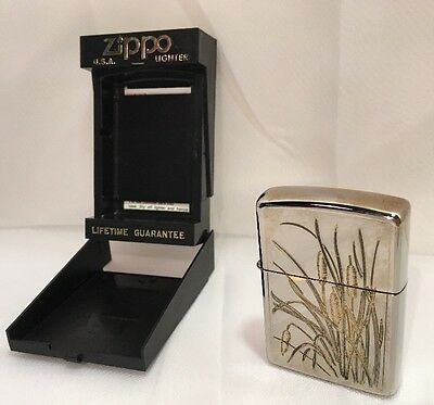 Zippo Lighter Engraved Dbl Sided Silver Plate Gold Inlay Cat Tails L 1992 VIII