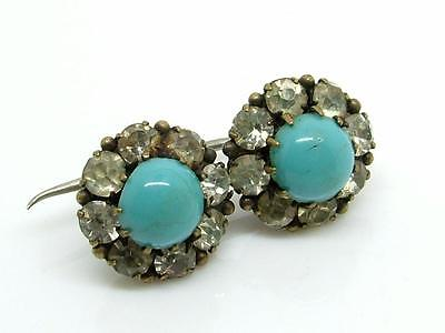 Antique Georgian Tiny Turquoise Paste & Gilt Metal Brooch/Lace Pin