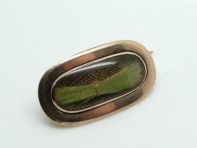 Antique Georgian 9ct Gold & Woven Hair/ Plaited Hair Tiny Mourning Brooch/Pin