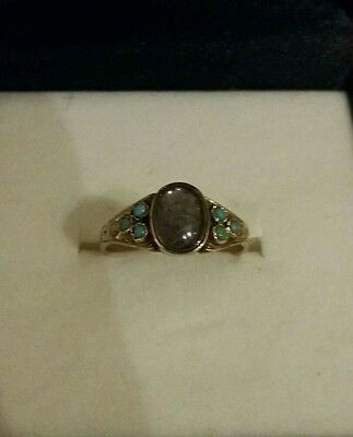 Rare Gerogian/Victorian Gold Mourning Ring With Turqoise Stones
