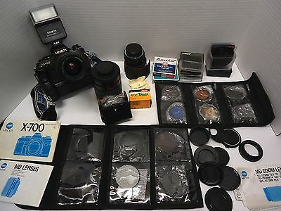 Minolta X-700 35mm SLR Film Camera Flash, Cokin Filters & 4 Lens & Motor drive