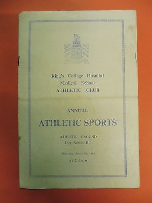 Kings College Hospital Medical School Athletic Club Programme 19/ 6/1954