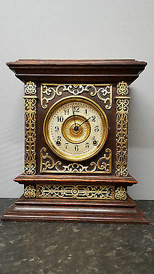 Ansonia Wooden Bracket Clock with Strike and Brass Decoration