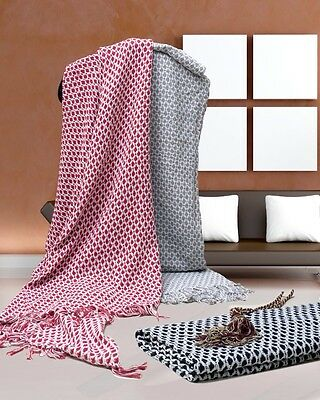 Decoroma Throw Rug Bedspread Blanket  125*150 Cm Bed Sofa 100% Cotton- New