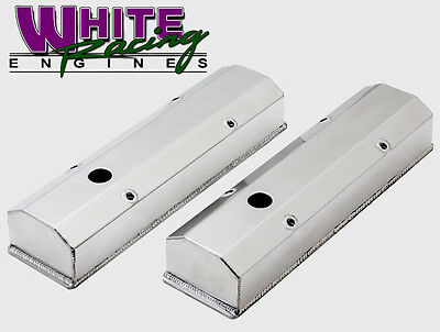 SBC TALL FABRICATED FLAT TOP VALVE COVERS - LONG BOLT w/ HOLES # WPM-8091-7P