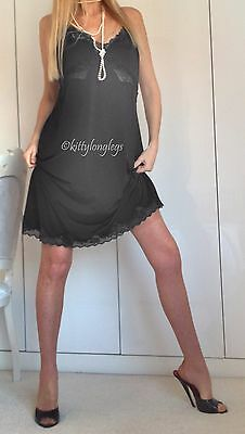Vintage Style Black Floppy Cling Resist full Dress Slip Petticoat size UK 18