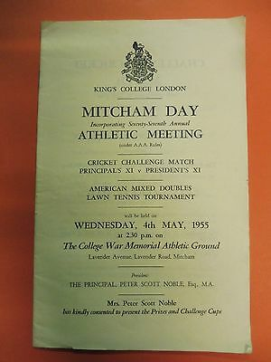 Kings College London Mitcham Day Athletic Meeting, +Cricket Tennis & Dance 1955