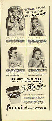 "1950's Vintage ad for Pacquins Hand Cream/""Old as a Mummy!"" (060613)"