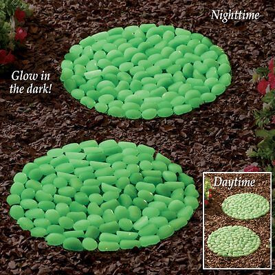 Set of 2 Glow-In-The-Dark Unique Garden Stepping Stones