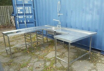 Pass though dishwasher sink unit commercial catering kitchen equipment