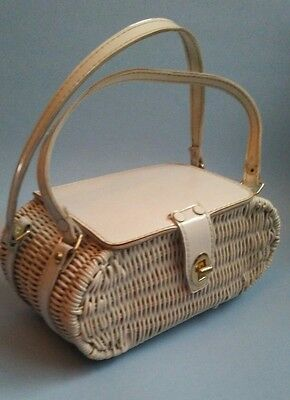vintage 50s white wicker lined hong kong box hand bag purse