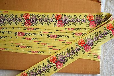 10.22_Yds_Antique_Embroidered_100%_Silk_Ribbon_Made_In_France
