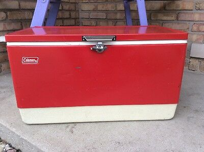 Vintage Coleman Red Metal Ice Chest Cooler Long Boy 1979 Tray Camping Hunting