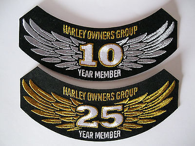 10 and 25 Year Member HOG Harley Davidson Patches Brand New