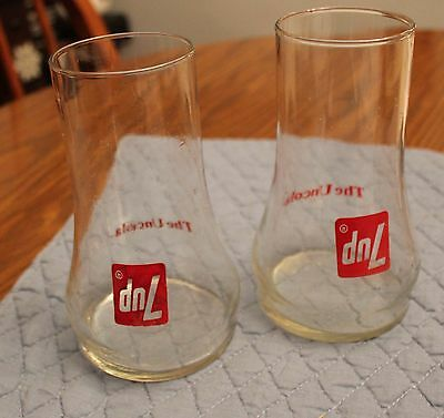 set of 2 7-up uncola glasses vintage glass