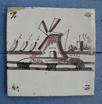 """Antique Dutch Delft Pottery Manganese Tile Windmill Sailboats Mulberry 5"""""""