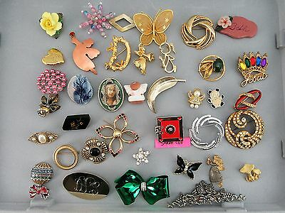 Lot of 38 Assorted Pins-Pin Back Brooches Costume Jewelry Vintage to Modern