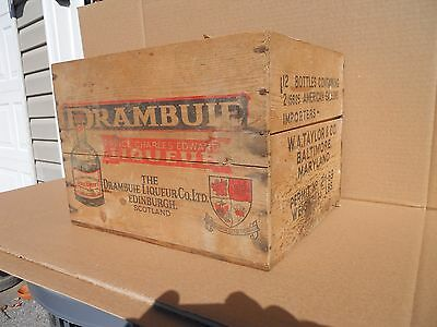 Vintage Drambuie Liqueur wood Cordial Whisky crate + divider Baltimore Md.