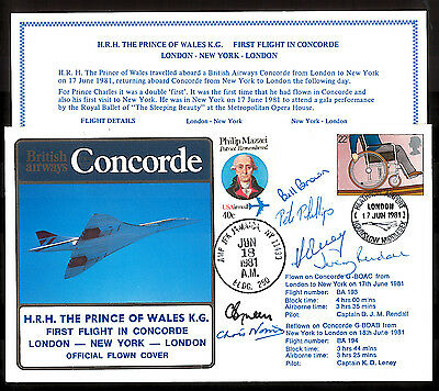 '81 BA CONCORDE Cpt.RENDALL/LENEY& CREW SIGNED COVER~LONDON-NEW YORK-LONDON_LimE