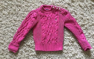 Ralph Lauren Little Girl Pink Cable Knit Long Sleeve Sweater Size 4