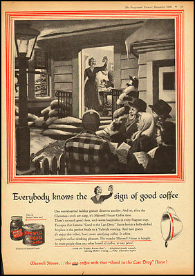 1949 Vintage ad for Maxwell House Coffee/Christmas Caroling illustration (112712