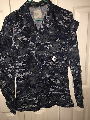 US Navy Military Uniform Digital Blue Camo Shirt Size Small Long