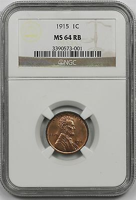 1915 Lincoln Wheat Penny 1C MS 64 RB Red Brown NGC