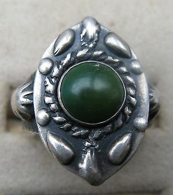 Vintage Native American Indian Stamped Sterling Silver Turquoise Ring 7 1/2