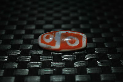 tan prayer worry 6 eyes dzi bead old agate Tencel amulet gzi antique tibet C82
