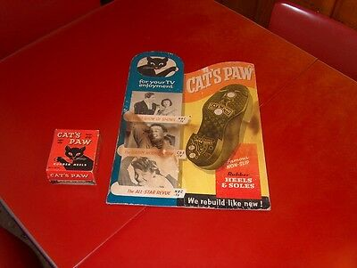 Antique Advertising Cats Paw Heels & Soles cardboard easel back sign & box