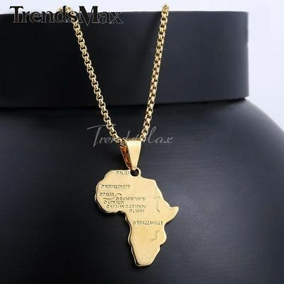 "18-28"" MENS WOMENS Africa Pendant Yellow Gold Plated GP Chain Necklace Round Box"