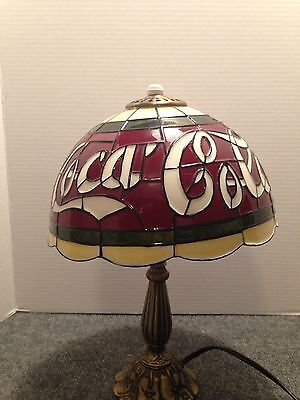 Coca-Cola Stained Glass Tiffany Style Accent Lamp Plastic Shade