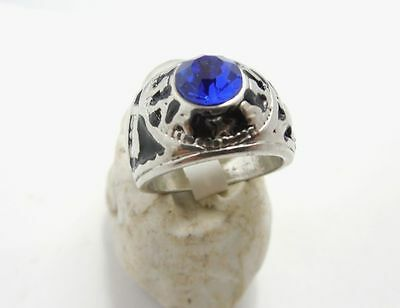 Vintage Jewelry  Men's Ring Size 10 in 925 Silver Plated With Blue Sapphire Ston
