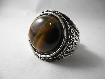 Vintage Jewelry Men's Ring Size 18 in 925 Silver Plated With Tiger Eye Stone