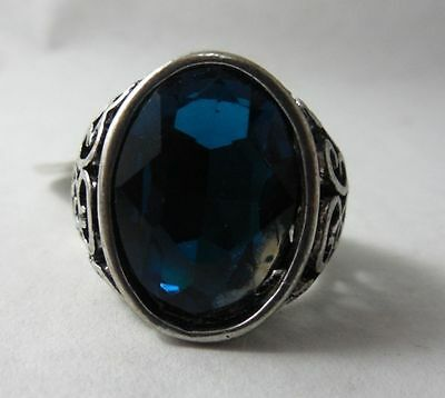 Vintage Jewelry Men's Ring Size 17 in 925 Silver Plated With London Blue Topaz