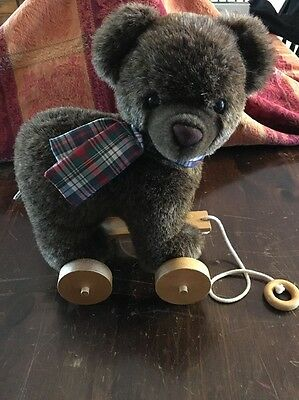 Applause plush Teddy Bear On Wooden Pull Wheels/pull toy