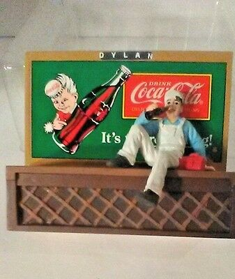 """VINTAGE 1996 Coca-Cola Town Square Collection Billboard W/Dylan 4""""X4""""  #CG2404"""