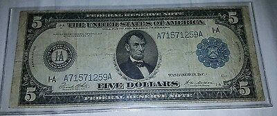 Gorgeous 1914 US Five Dollar Bill Federal Reserve Blanket Note Currency Boston